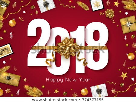 vector happy new year 2018 illustration on red background with gift box and typography design stock photo © articular