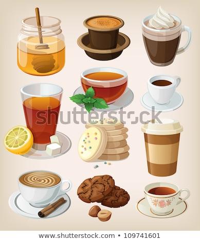 пить стекла блюдце оранжевый таблице хром Сток-фото © bezikus