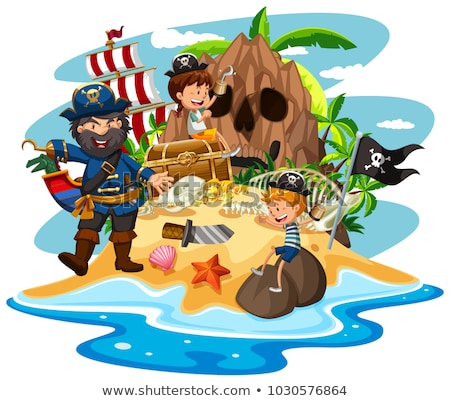 Ocean scene with pirate and children on treasure island Stock photo © bluering