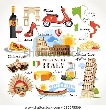 Ingesteld iconen symbolen Italië vlag kaart Stockfoto © popaukropa