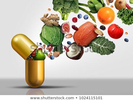 Táplálékkiegészítő rost kapszula zöldségek gyümölcs diók Stock fotó © Lightsource
