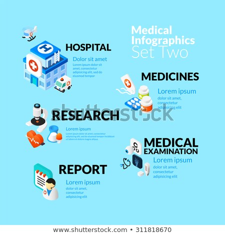 Medical healthcare infographic set with isometric flat icons, included first aid ambulance reanimati Stock photo © sidmay