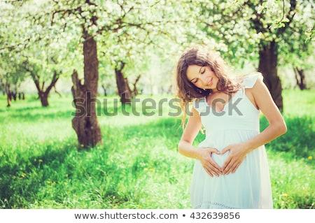 hermosa · mujer · embarazada · jardín · pie · árboles - foto stock © janpietruszka