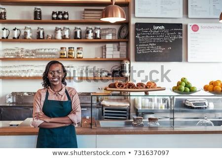 Kobiet pracowników pracy piekarni Licznik rynku Zdjęcia stock © wavebreak_media