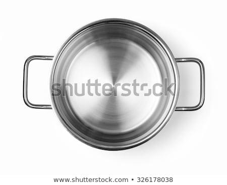 Acero inoxidable blanco establecer cinco cocina batería de cocina Foto stock © pakete