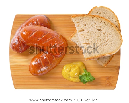 rövid · kolbászok · kenyér · szeletek · mustár · fából · készült - stock fotó © digifoodstock
