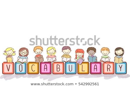 словарь блоки дети типографики иллюстрация детей, играющих Сток-фото © lenm