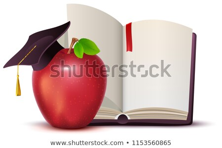 Nyitott könyv piros alma szimbólum tudás oktatás izolált Stock fotó © orensila