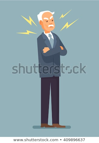 Evil old man. Angry grandfather. Elderly dissatisfied person Stock photo © popaukropa