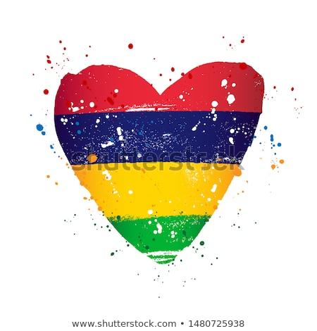 Маврикий флаг белый Мир краской искусства Сток-фото © butenkow