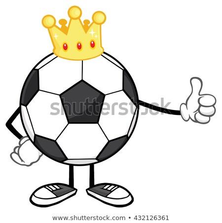 ストックフォト: 王 · サッカーボール · 漫画のマスコット · 文字 · クラウン