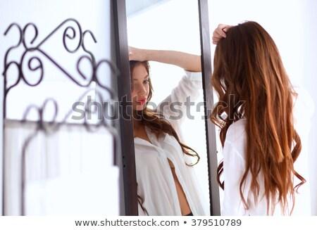 Vrouw ondergoed spiegel ochtend schoonheid mensen Stockfoto © dolgachov