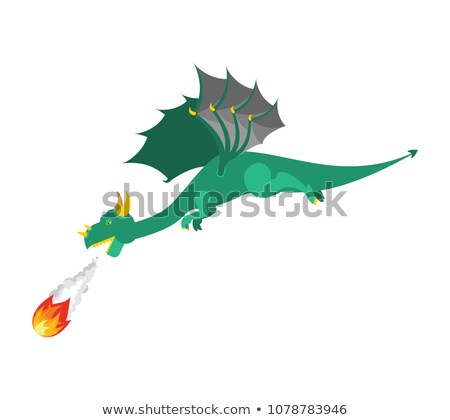 Verde dragão fogo mítico monstro asas Foto stock © popaukropa