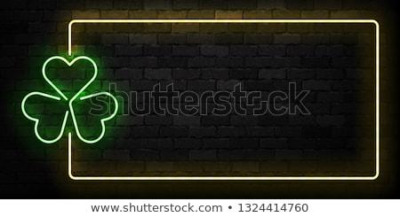 Dzień Świętego Patryka neon zielone murem realistyczny podpisania Zdjęcia stock © popaukropa