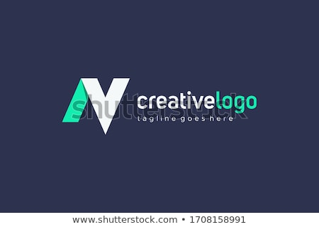 Green and Blue V Shaped Icon for Letter N Vector Illustration Stock photo © cidepix