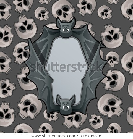 Poster in style of Halloween holiday. Metal frame in the shape of bat wings on the background textur Stock photo © Lady-Luck