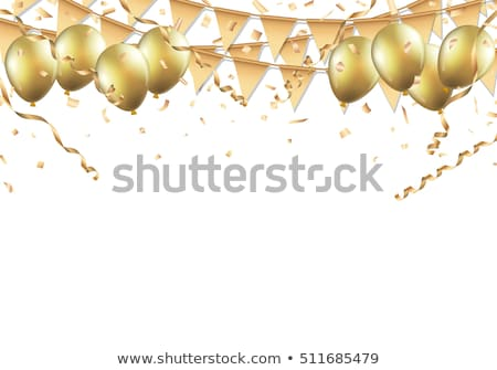 Golden Streamer, Balloons and Confetti Stock photo © -TAlex-