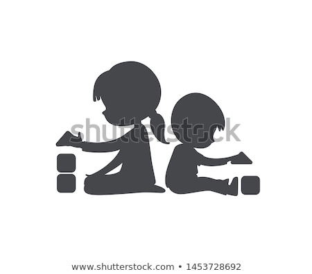 Little Girl Playing In Building Blocks Vector. Isolated Illustration Stock photo © pikepicture