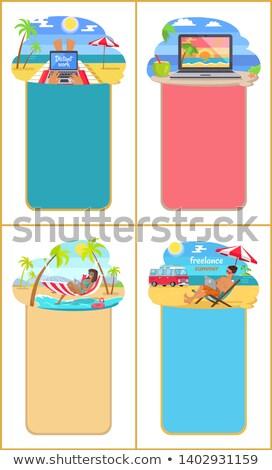 Szabadúszó nyár promo poszter férfi tengerpart Stock fotó © robuart