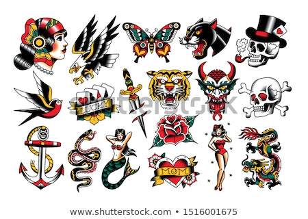 Stock fotó: Rajz · ördög · virágok · illusztráció · állat · grafikus