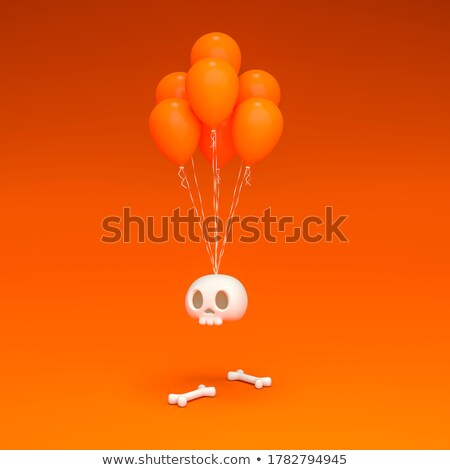 scary balloon head with bones for halloween 3d stock photo © djmilic