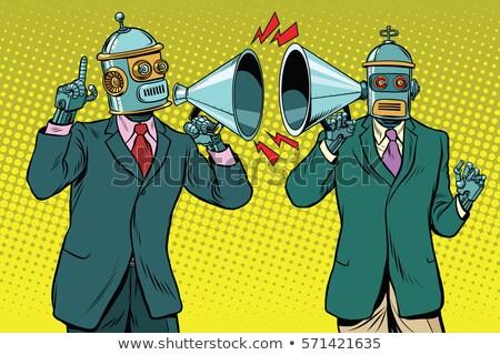 Cartoon sorprendido entrenador robot mirando Foto stock © cthoman
