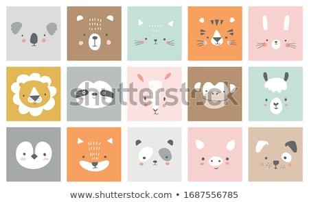 Szett aranyos állatok illusztráció boldog háttér művészet Stock fotó © bluering