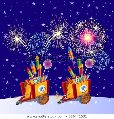 Bella colorato vacanze fuochi d'artificio sera cielo Foto d'archivio © Lady-Luck