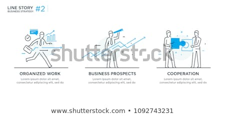 Successful Business Posters with Linear Icons Stock photo © robuart