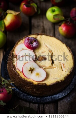 Apple Cheesecake with a Brown Butter Crust. .Dark rustic photo Stock photo © zoryanchik