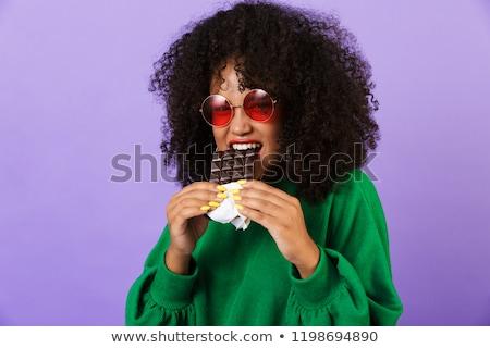 Jovem bastante africano mulher isolado violeta Foto stock © deandrobot