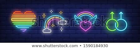 Serca skrzydełka neon miłości promocji seks Zdjęcia stock © Anna_leni