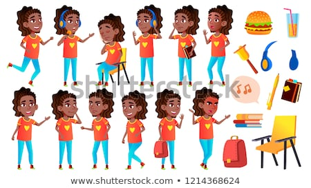 Girl Schoolgirl Kid Poses Set Vector. High School Child. Children Study. Smile, Activity, Beautiful. Stock photo © pikepicture