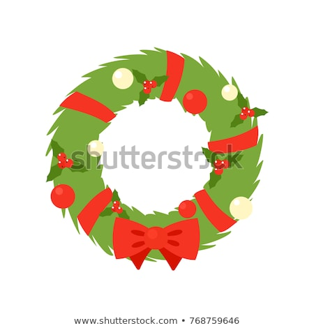 Christmas wreath flat icon. Holiday decoration illustration stock photo © IvanDubovik