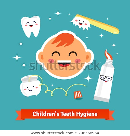 tooth paste brush vector child dental care isolated flat cartoon illustration stock photo © pikepicture