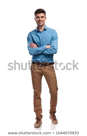jóképű · fiatalember · kockás · póló · kék · diák - stock fotó © feedough