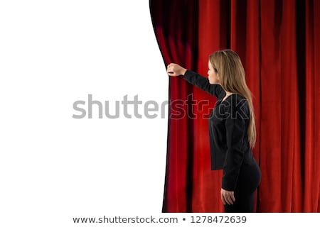 Woman open red curtains of the theater stage. blank space for your text Stock photo © alphaspirit