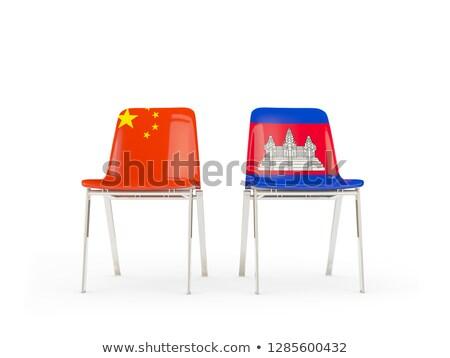 Twee stoelen vlaggen China Cambodja geïsoleerd Stockfoto © MikhailMishchenko