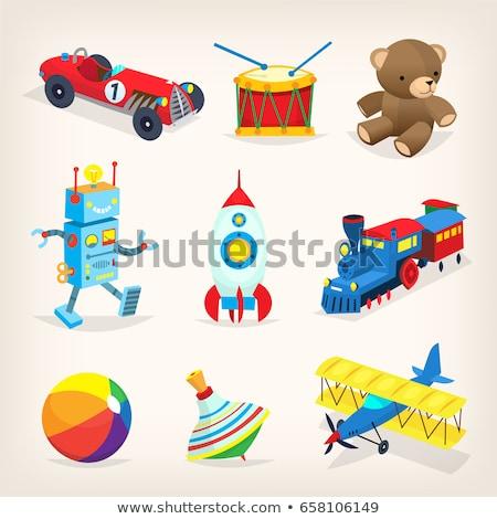 cartoon girl in a toy car stock photo © bennerdesign