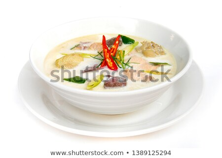 Thai style coconut milk soup with chicken, Tom Kha Gai Isolated on white Stock photo © galitskaya