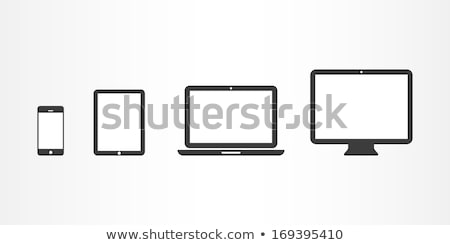 Stok fotoğraf: Sosyal · ağ · dizüstü · bilgisayar · simgeler · vektör · bilgisayar