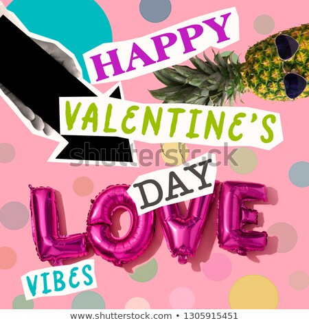 text happy valentines day in contemporary collage Stock photo © nito