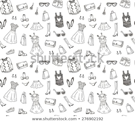 Vector of hand drawn fashion clothes and accessories pattern  Stock photo © Margolana
