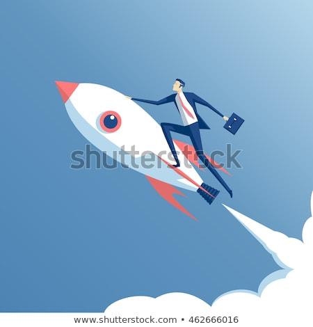 Roket uçan gökyüzü örnek bulutlar yangın Stok fotoğraf © colematt