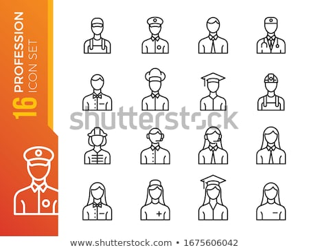 Brandweerman uniform werken vector icon permanente Stockfoto © robuart