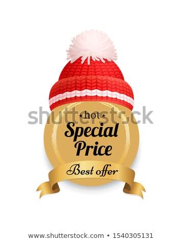 ホット ラベル 編まれた 赤 帽子 ストックフォト © robuart
