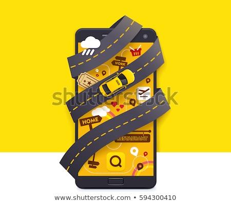 Chiamata taxi servizio giallo taxi tetto Foto d'archivio © make