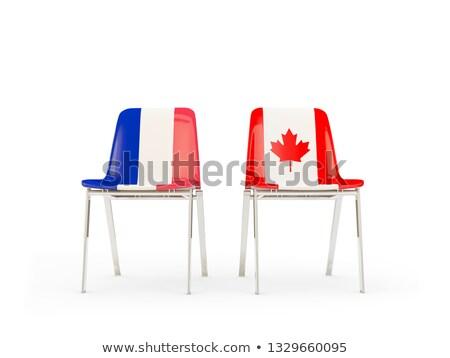 Kettő székek zászlók Franciaország Kanada izolált Stock fotó © MikhailMishchenko