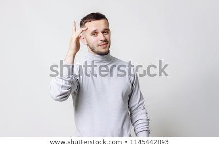 Boldog ujjak ötletelés csapatépítés buli arc Stock fotó © ra2studio