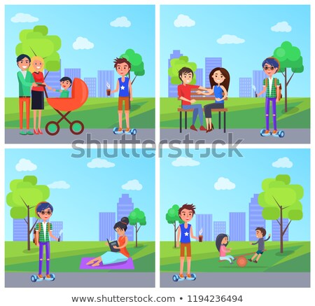 Student with Vape and Woman with Book Park Vector Stock photo © robuart